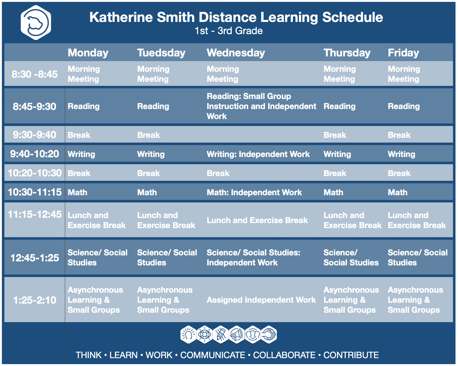 Distance Learning Schedule Grades 1-3