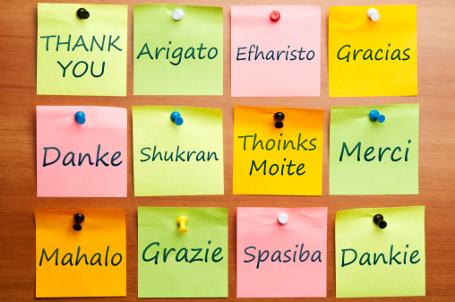 """Thank You"" Many Languages, sticky notes"